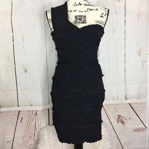 Black Wow Couture Bondage One Shoulder Dress
